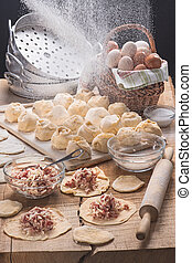 The dumplings made for cooki in style a rustic - The...