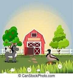 alegre, granja, animales, feliz