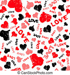Hearts Valentine Background with Painted Love Word -...