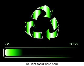 recycling symbol with progress bar loading