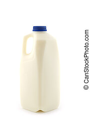 Milk - A two litre plastic bottle of skim milk, on white...