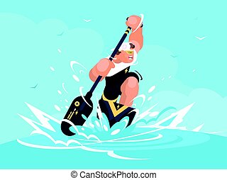 Strong man in canoe - Strong man swims in canoe at sporting...