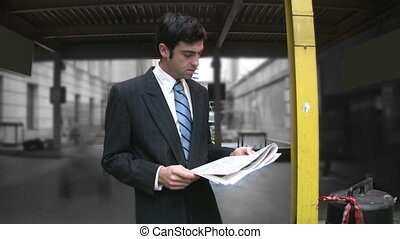 Man reads newspaper Timelapse - Business man reading the...