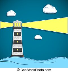 Building lighthouse with a spotlight in the sea