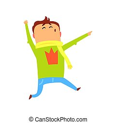 Cute happy surprised cartoon man jumping. Colorful character vector Illustration
