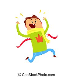 Cartoon man crossing blue finishing line. Colorful character vector Illustration