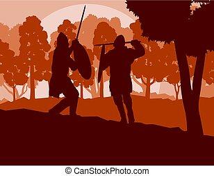 Warrior medieval fighter duel forest trees landscape vector...