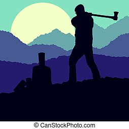 Logger with axe cut firewood vector background landscape...