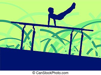 Gymnastics parallel bars exercise vector abstract background...