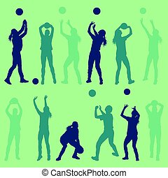 Volleyball woman player set abstract vector background