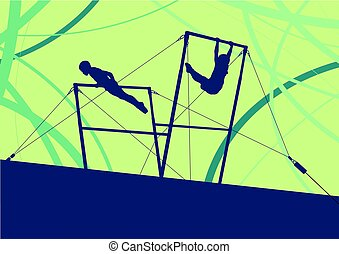 Athlete gymnast exercises on professional gymnastic uneven...
