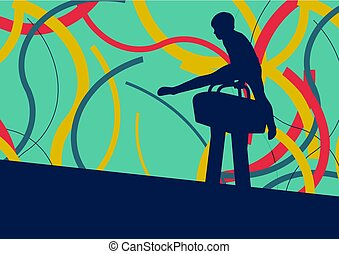 Gymnast on pommel horse abstract vector background - Gymnast...