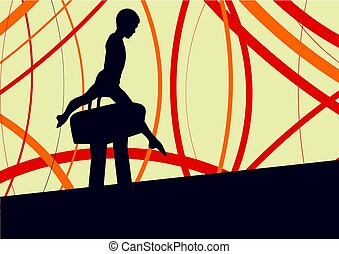 Gymnast on pommel horse abstract vector background with...