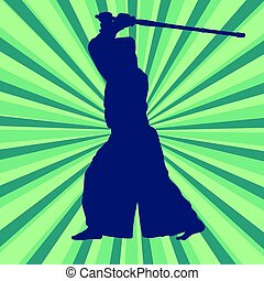 Kendo fighter in uniform vector background