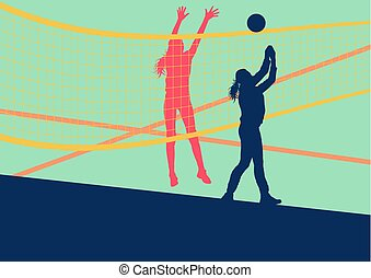 Volleyball woman player abstract vector background