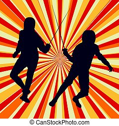 Fencing player fight abstract vector background