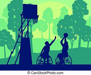 Wheelchair basketball man playing game landscape with trees...