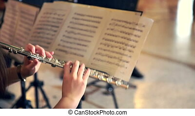 Woman Playing The Flute - Woman Musician Plays the Flute....
