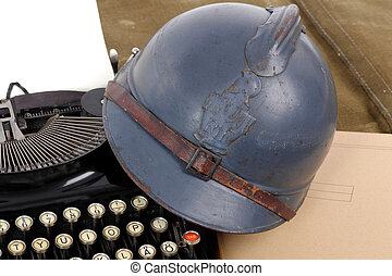 french military helmet of the First World War with old...