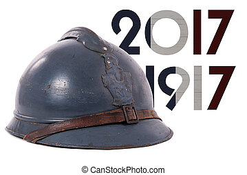 french military helmet of the First World War isolated on...