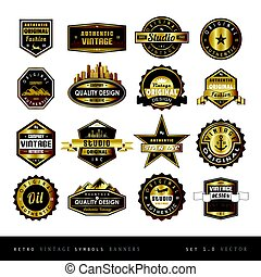 Vintage retro golden labels black and white isolated