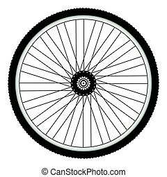 Rear bicycle wheel with spiked bicycle tire vector Bike...