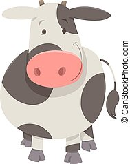 cute spotted cow or calf - Cartoon Illustration of Cute...