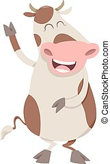 happy spotted cow character - Cartoon Illustration of Happy...