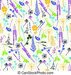 Vector floral seamless pattern with wild flowers