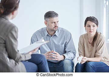 Problems in marriage - Worried couple with problems in...