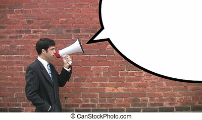 Megaphone man with speechbubble - Man in suit with megaphone...