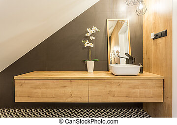 Shelf with washbasin and mirror - Wooden shelf with...