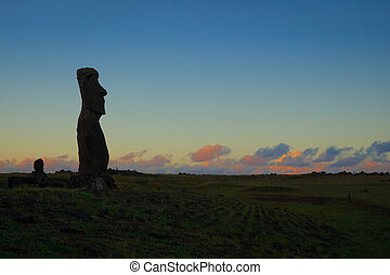 Moai statue ahu akapu at sunset, easter island, Chile