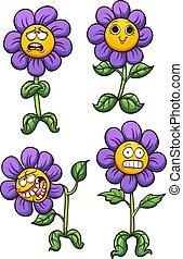 Purple flower - Purple cartoon flower with different...