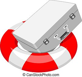 First aid kit in the lifebuoy. Vector illustration