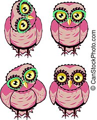 Curious Owl in Teal Glasses - Cute cartoon stylized owl with...