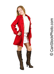 Girl in red coat on white background