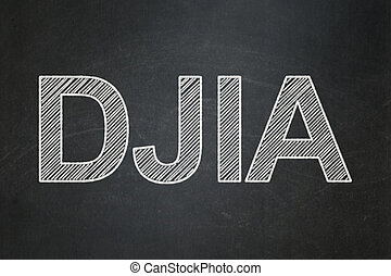 Stock market indexes concept: DJIA on chalkboard background