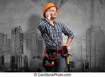 My development plan - Engineer woman talking mobile phone...