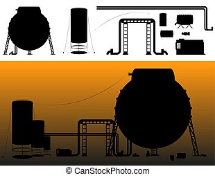 Set of industrial silhouettes