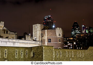 30 St Mary Axe and Tower of London by nigth