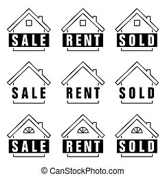 home set sold icon in black and white color illustration