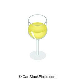 Isometric red wine in a glass isolated on white background