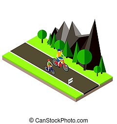 Isometric countryside. Summer road. Woman and man cycling on...