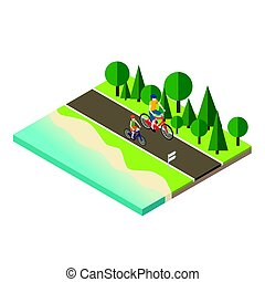Woman and man cycling on countryside summer sunny road or...