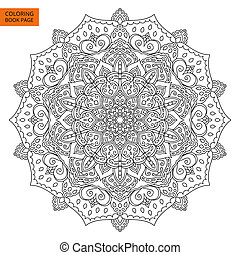 Coloring Book Page with Mandala Outline - Outline Mandala...