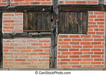 Detail of a half-timbered wall in sunlight