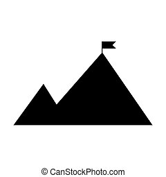 Mountains with a flag on top of the icon