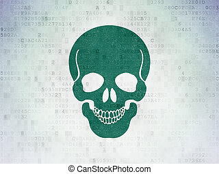 Health concept: Scull on Digital Data Paper background