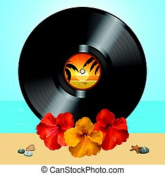 Vinyl record disc and hibiscus on summer background